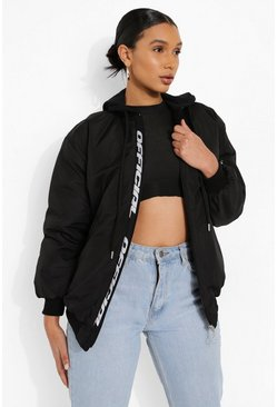 Black Hooded Official Tape Oversized Bomber Jacket