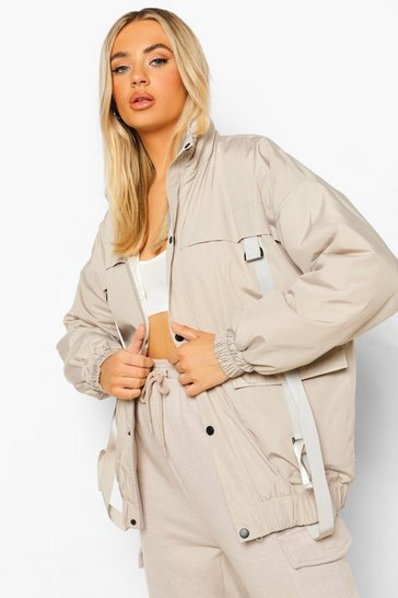 Taupe beige Strap Detail Utility Bomber Jacket
