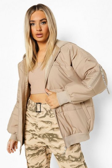 Stone beige Hooded Sleeve Tab Oversized Bomber