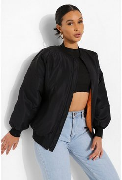 Black Contrast Lined Bomber Jacket