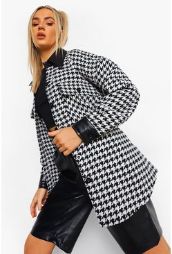 Black Faux Leather Trim Dogtooth Shacket