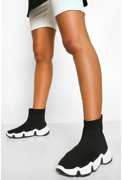 Black Contrast Sole Sock Trainer