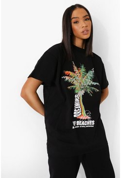 Palm Graphic Longline T Shirt , Black nero