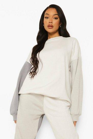 Grey Colour Block Sweater