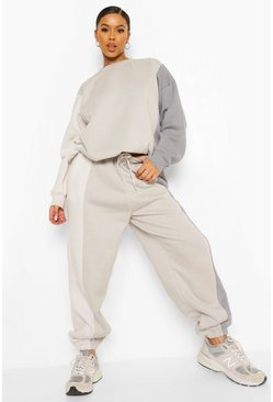 Grey Colour Block Sweater Tracksuit