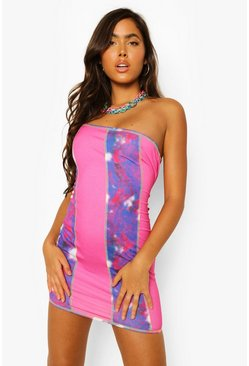 Pink One Shoulder Tie Dye Panel Mini Dress