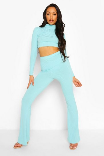 Powder blue blue Ribbed Thong Back Trousers & Crop