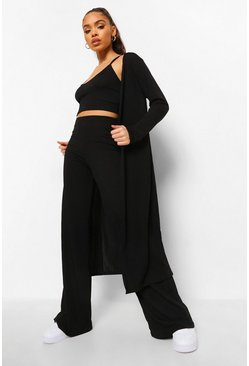 Black Rib Bralette, Duster & Wide Leg Trousers