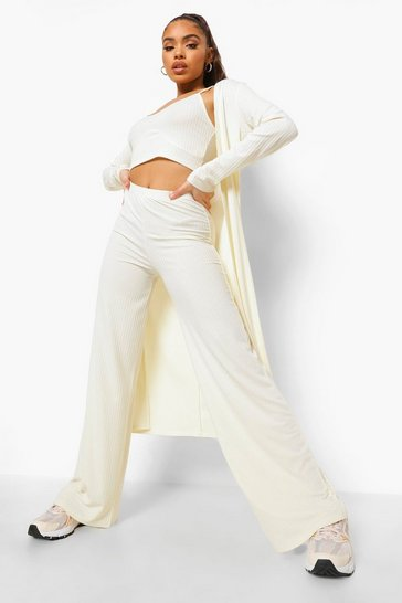 Cream white Rib Bralette, Duster & Wide Leg Trousers