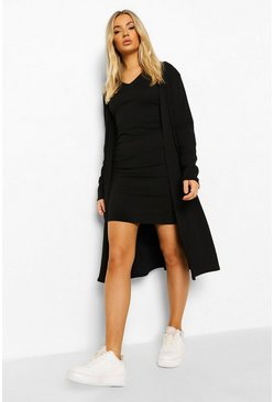 Black Rib Collar Detail Dress & Duster