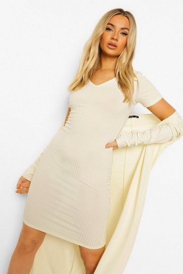 Cream white Rib Collar Detail Dress & Duster