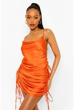 Orange Satin Ruched Crop Top And Midi Skirt