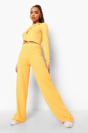 Orange Rib Button Front Crop & Wide Leg Trousers