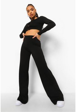 Black Rib Button Through Crop & Wide Leg Trousers
