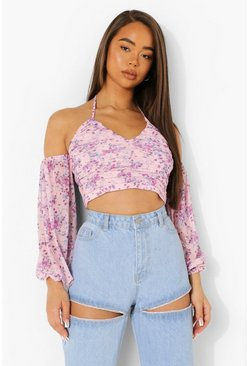 Baby pink pink Floral Rouche Detail Top