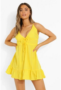 Bright yellow yellow Woven Strappy Tie Detail Sundress