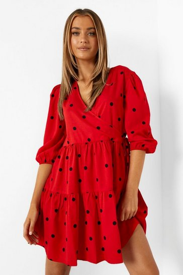 Red Woven Polka Dot Tie Detail Smock Dress