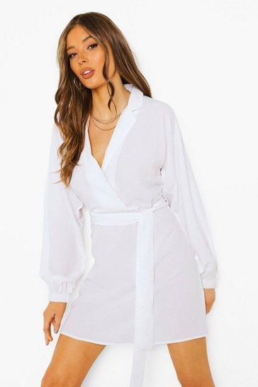 White Textured Tie Detail Skater Dress