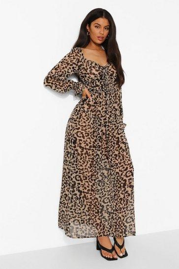 Stone beige Leopard Shirred Waist Maxi Dress