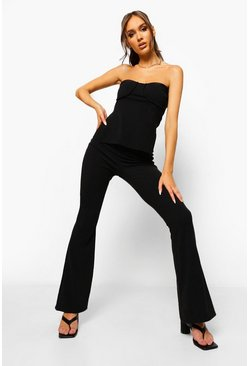 Black Crinkle Rib Bandeau & Flared Trousers