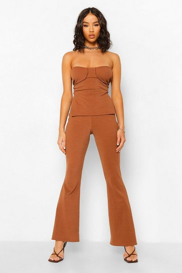 Chocolate brown Crinkle Rib Bandeau & Flared Trousers
