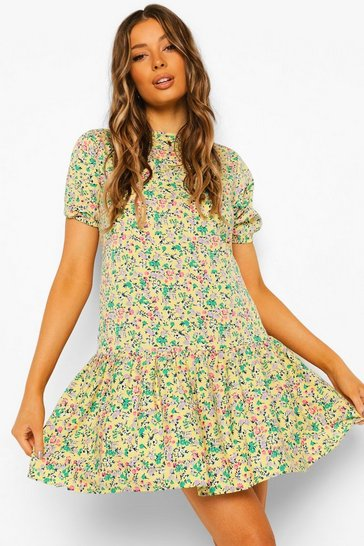 Yellow Woven Floral Shift Dress