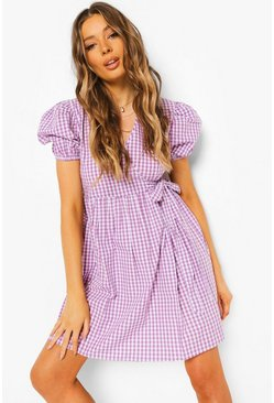 Lilac purple Gingham Wrap Dress