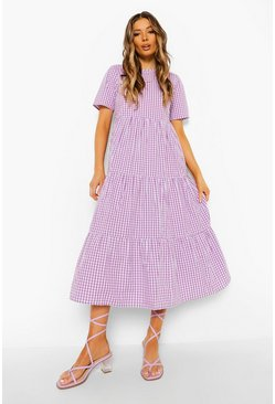 Lilac purple Cotton Gingham Midaxi Smock Dress