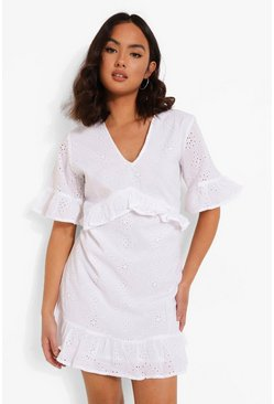 White Broderie Ruffle Detail Smock Dress