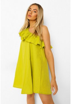 Lime green Woven One Shoulder Ruffle Dress