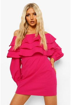 Hot pink pink Woven Extreme Ruffle Dress
