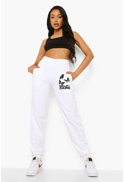 White Self Care Butterfly Print Jogger