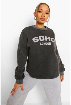 Black Soho Slogan Washed Crop Sweat