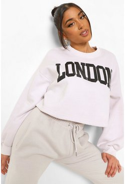 Ecru white London Slogan Cropped Washed Sweat