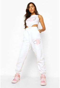 Rose Printed Joggers , White blanco