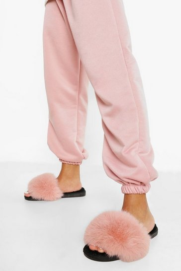 Dusky pink pink Faux Fur Sliders
