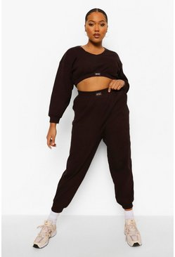 Chocolate brown Plus Premium Rib Ofcl Oversized Joggers