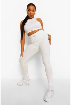 Ecru white Plus Premium Rib Ofcl High Waisted Leggings