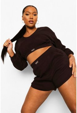 Chocolate brun Plus - Premium Ofcl Ribbad kort sweatshirt