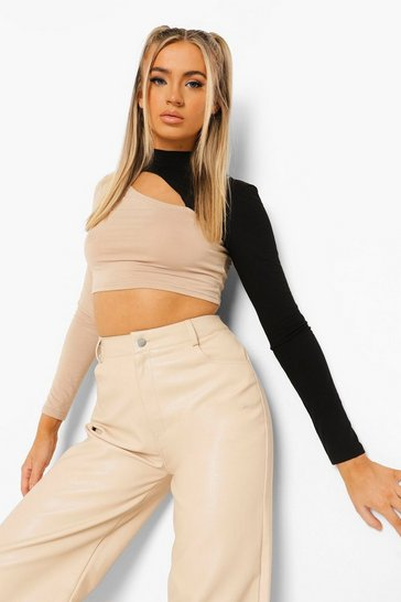 Stone beige Cut Out Two Tone Long Sleeve Crop Top
