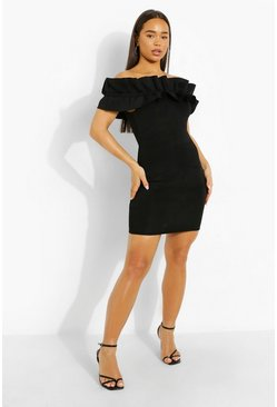 Black Scuba Frill Bardot  Bodycon Mini Dress