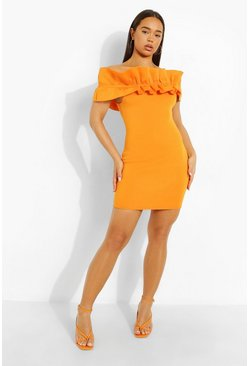 Orange Scuba Frill Bardot  Bodycon Mini Dress