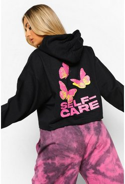 Black Butterfly Self Care Cropped Hoodie