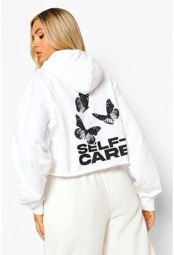 White Butterfly Self Care Cropped Hoodie