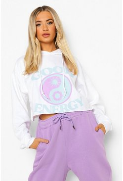 White Good Vibes Cropped Hoodie