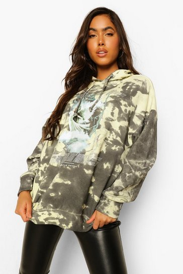 Yellow Diamante Tie Dye Oversized Hoody