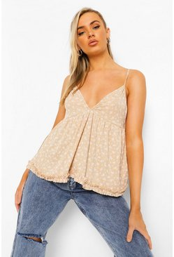 Stone beige Ditsy Ruffle Cami Top