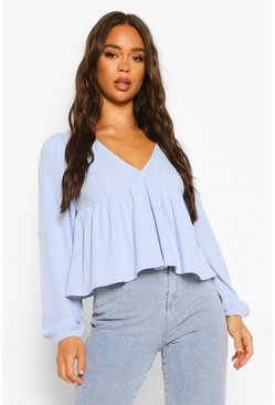 Blue Rib V Neck Long Sleeve Smock Top, Babyblau blau