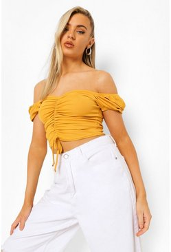 Mustard yellow Rib Ruched Off The Shoulder Crop Top