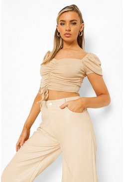Stone beige Rib Ruched Off The Shoulder Crop Top